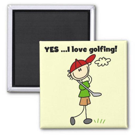 Amo SÍ las camisetas y los regalos del golf Imán De Nevera