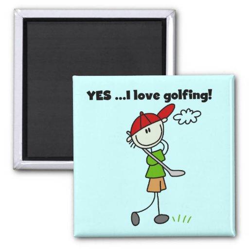 Amo SÍ las camisetas y los regalos del golf Imán Para Frigorifico