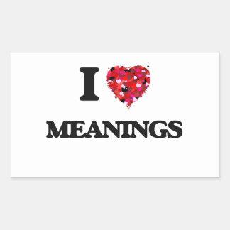 Amo significados pegatina rectangular