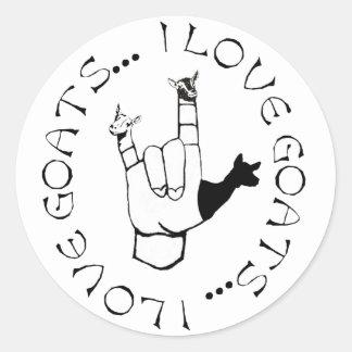 Amo símbolo de la mano del lenguaje de signos del etiquetas redondas