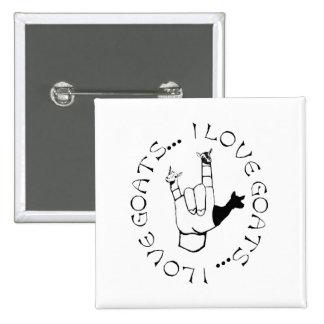 Amo símbolo de la mano del lenguaje de signos del  pin cuadrado