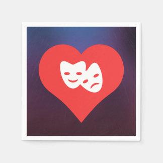 Amo símbolo fresco de las máscaras del teatro servilletas desechables