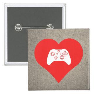 Amo símbolo fresco de los controles del videojuego pin cuadrado