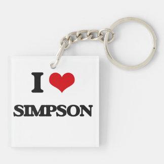 Amo Simpson Llavero Cuadrado Acrílico A Doble Cara