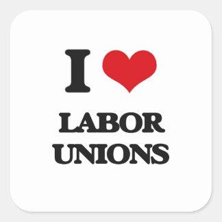 Amo sindicatos pegatina cuadrada