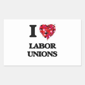 Amo sindicatos pegatina rectangular