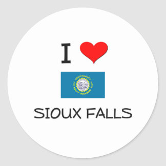 Amo Sioux Falls Dakota del Sur Pegatina Redonda