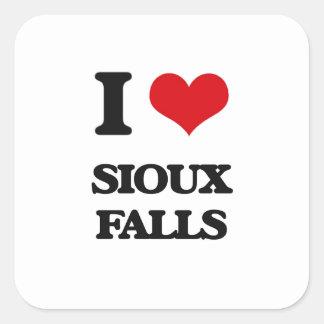 Amo Sioux Falls Pegatina Cuadrada