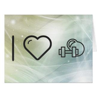 Amo sistemas de la pesa de gimnasia tarjeta de felicitación grande