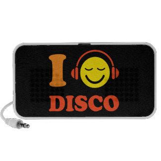 Amo smiley de la música del disco con los altavoce altavoz de viajar