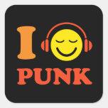 Amo smiley punky de la música con los pegatinas de pegatinas cuadradas