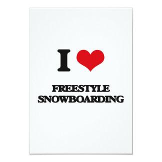 Amo snowboard del estilo libre invitación personalizada