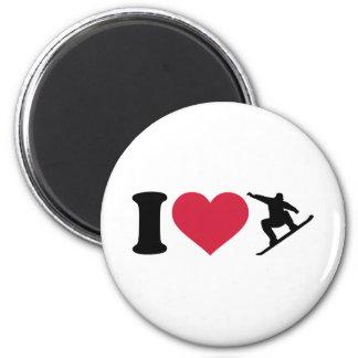 Amo snowboard imán redondo 5 cm