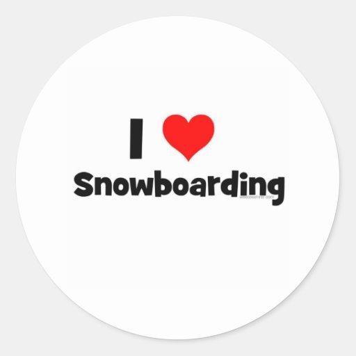 Amo snowboard pegatinas redondas