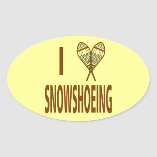 Amo Snowshoeing Pegatina Ovalada
