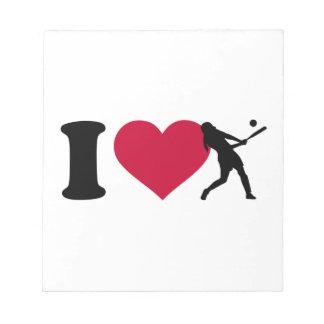 Amo softball bloc de notas