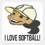Amo softball calcomanías cuadradass