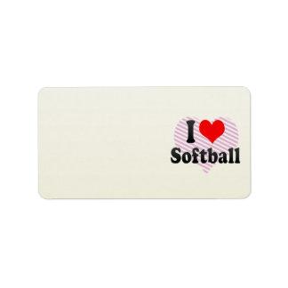 Amo softball etiquetas de dirección