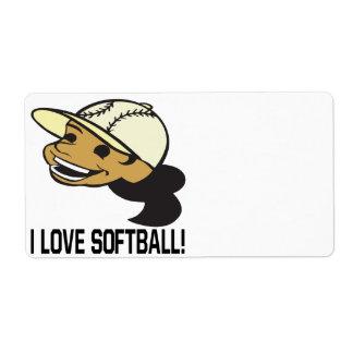 Amo softball etiquetas de envío