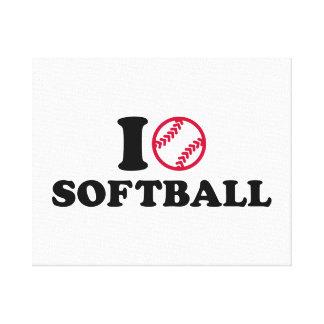 Amo softball impresión en lienzo