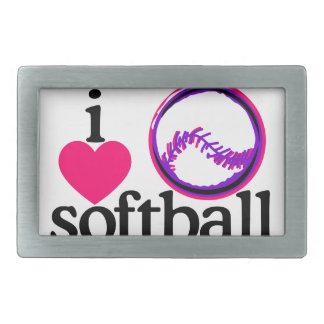 Amo softball/la bola hebillas cinturón rectangulares