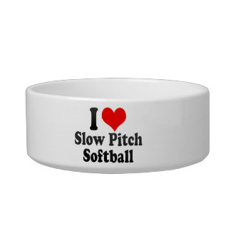 Amo softball lento de la echada tazón para comida gato