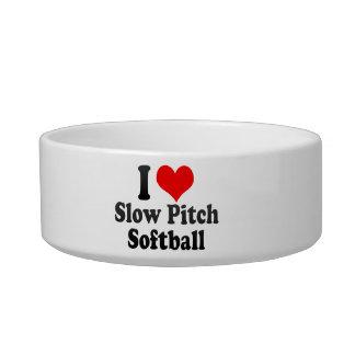 Amo softball lento de la echada tazón para gato