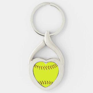 Amo softball llavero plateado en forma de corazón