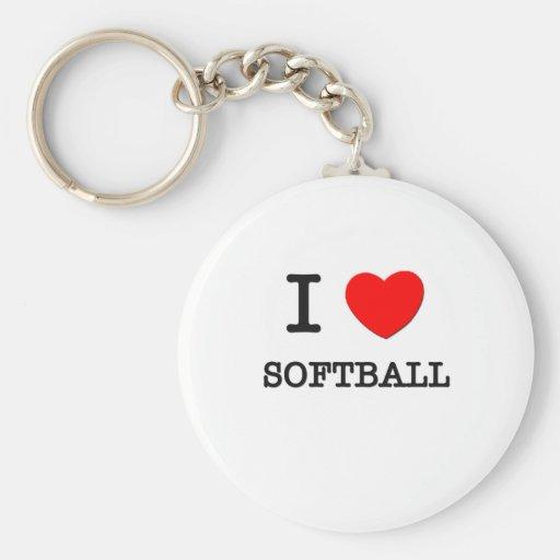 Amo softball llavero redondo tipo pin