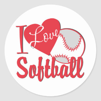 Amo softball pegatina redonda