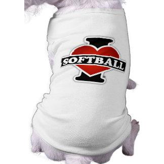 Amo softball playera sin mangas para perro