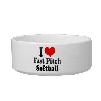 Amo softball rápido de la echada tazon para gato