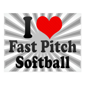 Amo softball rápido de la echada postales