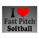 Amo softball rápido de la echada tarjetas postales