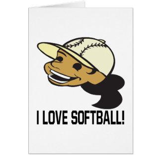 Amo softball tarjeta de felicitación