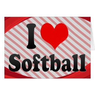Amo softball tarjeta pequeña