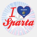 Amo Sparta, Wisconsin Etiqueta Redonda