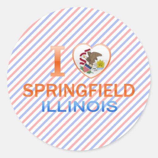 Amo Springfield, IL Pegatinas Redondas