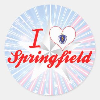 Amo Springfield, Massachusetts Pegatina Redonda