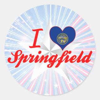 Amo Springfield, Nebraska Pegatina Redonda