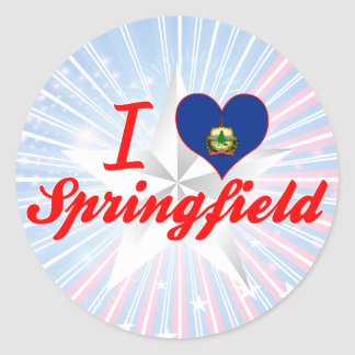 Amo Springfield, Vermont Pegatina Redonda