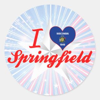 Amo Springfield, Wisconsin Pegatina Redonda
