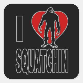 ¡Amo Squatchin Colcomanias Cuadradas Personalizadas
