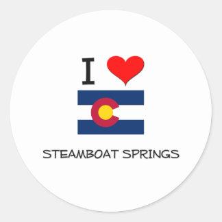 Amo STEAMBOAT SPRINGS Colorado Pegatina Redonda