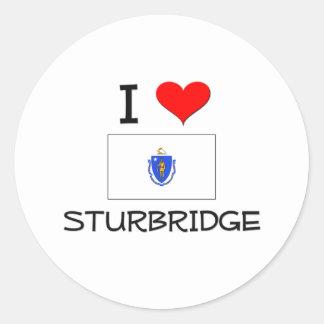 Amo Sturbridge Massachusetts Pegatina Redonda