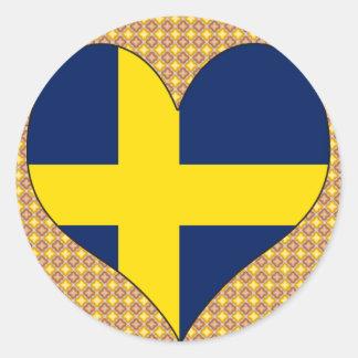 Amo Suecia Etiqueta Redonda