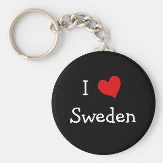 Amo Suecia Llavero Redondo Tipo Pin