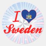 Amo Suecia, Nueva York Etiquetas Redondas