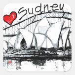 Amo Sydney Pegatina Cuadrada