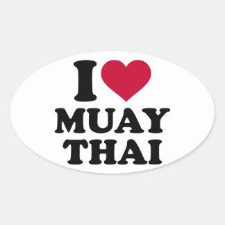 Amo tailandés de Muay Pegatina Ovalada